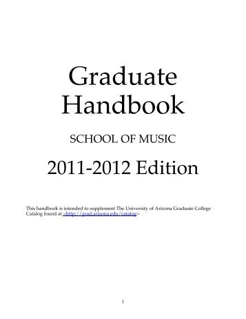 Graduate Handbook - School of Music - University of Arizona