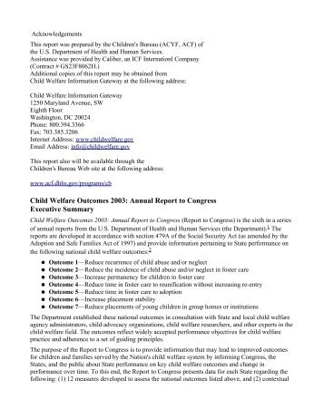 Child Welfare Outcomes 2003 - Families Link International