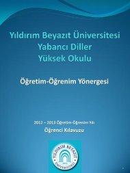 YBU YDYO Öğretim-Öğrenim Yönergesi - Yıldırım Beyazıt Üniversitesi