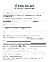 APPLICATION FOR STAFF EMPLOYMENT - Snow College