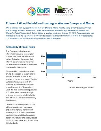 Future of Wood Pellet-Fired Heating in Western Europe and Maine