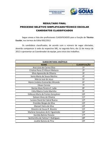 RESULTADO FINAL PROCESSO SELETIVO SIMPLIFICADO ...