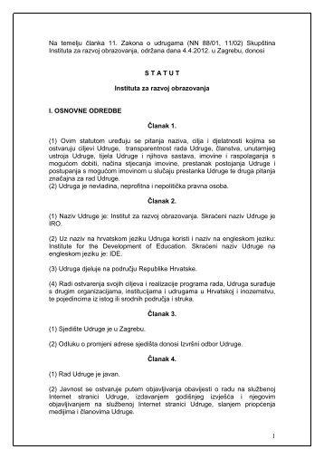Statut IRO-a (PDF) - Institut za razvoj obrazovanja