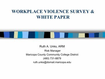 workplace violence survey & white paper - Maricopa Community ...