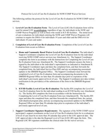 Protocol for Level of Care Re-Evaluation for NOW/COMP Waiver ...