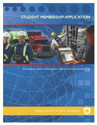 Student application to AMERICAN SOCIETY OF SAFETY ENGINEERS