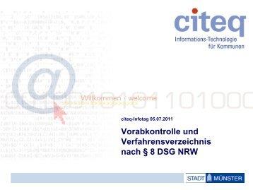 Vorabkontrolle und Verfahrensverzeichnis - Citeq
