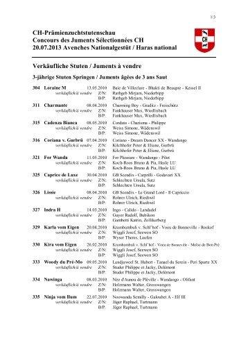 Liste des juments à vendre
