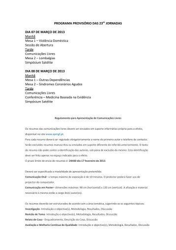 PROGRAMA PROVISÓRIO DAS 23as JORNADAS DIA 07 DE ...