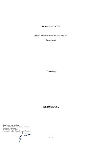 William Blair SICAV Société d'investissement à capital variable ...