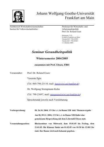 Seminar Gesundheitspolitik Wintersemester 2004/2005
