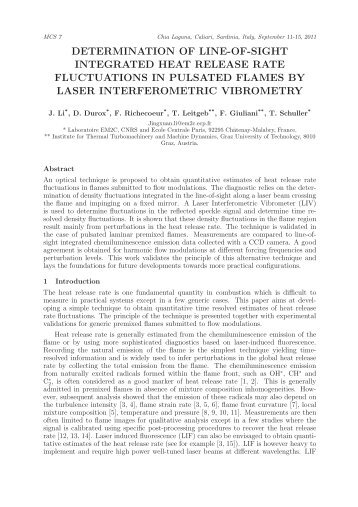 determination of line-of-sight integrated heat release rate ...