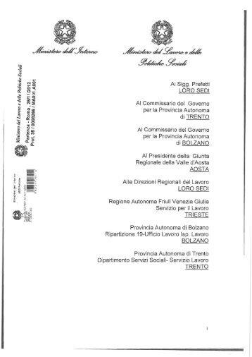 Circolare congiunta 26 novembre 2012 - Ministero Dell'Interno