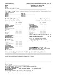 health questionnaire form - Baystate Health