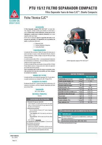 Ficha técnica, Filtro separador compacto PTU 15/12 CJC - Cjc.dk