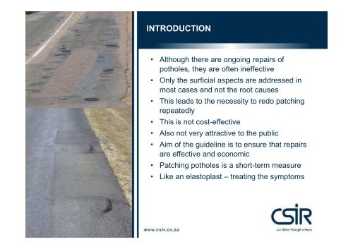 POTHOLES: Technical guide to their causes, identification ... - CSIR