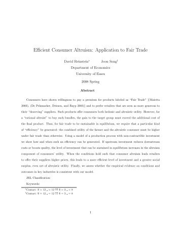 Efficient Consumer Altruism: Application to Fair Trade