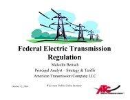 Federal Electric Transmission Regulation - Wisconsin Public Utility ...