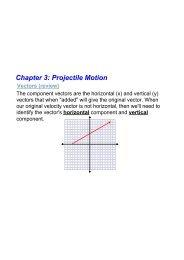Chapter 3: Projectile Motion Vectors