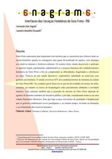Interfaces dos Serviços Hoteleiros de Ouro Preto- MG - Revistas de ...