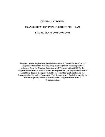 Central virginia transportation improvement - Virginia's Region 2000