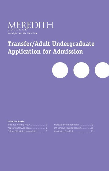 Transfer/Adult Undergraduate Application for ... - Meredith College