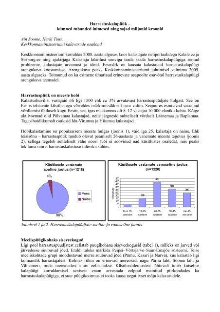 Ülevaade harrastajate küsitlusest - Keskkonnaministeerium