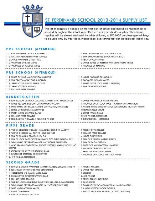 St. Ferdinand 2013-14 Supply List