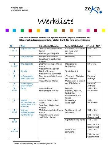 Werkliste als PDF