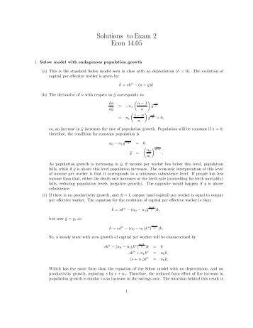 Solutions toExam 2 Econ 14.05