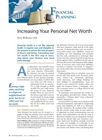 Increasing Your Personal Net Worth - The Journal of Family Practice