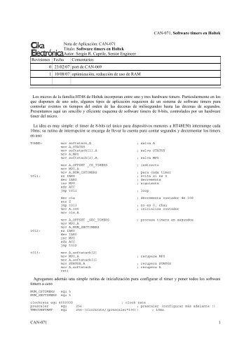 CAN-071, Software timers en Holtek Nota de Aplicación: CAN-071 ...