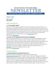 AACC Letter - American Association of Community Colleges