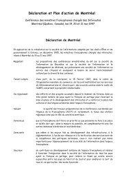 Déclaration et Plan d'action de Montréal - Organisation ...