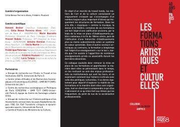 les forma tions artist iques et cultur elles - Université Paris 8