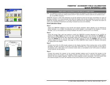 fibertek accessory field calibration quick ... - Ideal Industries