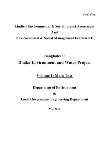 Dhaka Environment and Water Project Volume 1 - LGED