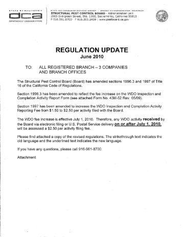 Structural Pest Control Board Regulation Update June 2010