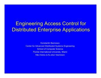 Engineering Access Control for Distributed Enterprise ... - LERSSE