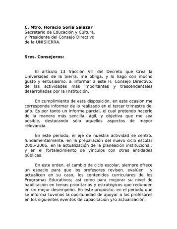 C. Mtro. Horacio Soria Salazar Secretario de Educación y Cultura, y ...