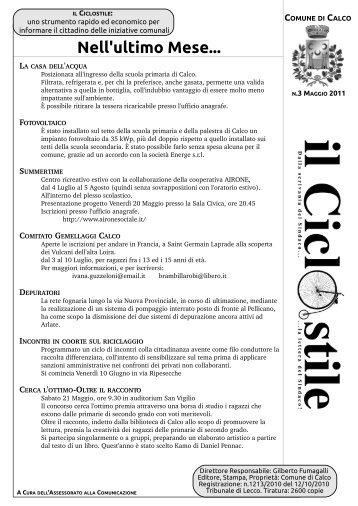 n3 Maggio 2011 - Comune di Calco