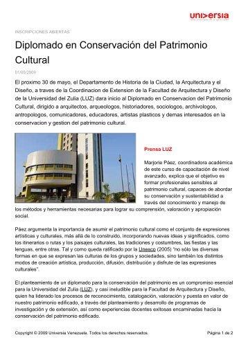 Diplomado en Conservación del Patrimonio Cultural - Noticias ...