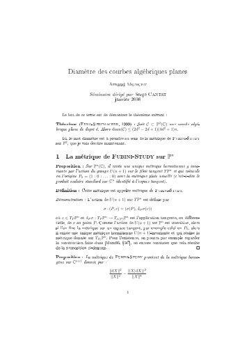 Diamètre des courbes algébriques planes