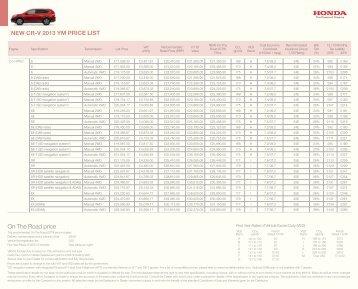 16263 Honda CR-V Price List Oct 2012 210x260.indd