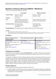 Bachelor of Science (Honours) - University of Southern Queensland