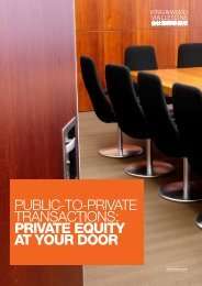Public-to-Private transactions: PRIVATE EQUITY AT ... - Mallesons