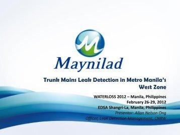 Trunk Mains Leak Detection in Metro Manila's ... - Iwa-waterloss.org