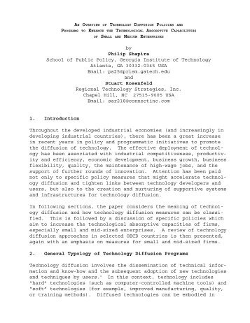 Technology Diffusion Policies And Programs To Enhance The ...