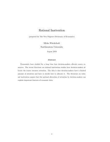 Rational Inattention - Wiwi Uni-Frankfurt