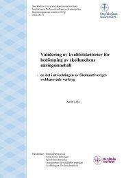 Valideringsstudie, ett samarbete mellan Stockholms Universitet och ...